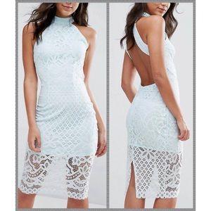 NWT Topshop aqua lace open back midi dress